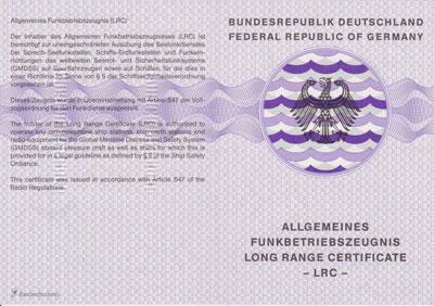 Longe Range Certificate - LRC - Allgemeinses Funkbetriebszeugnis