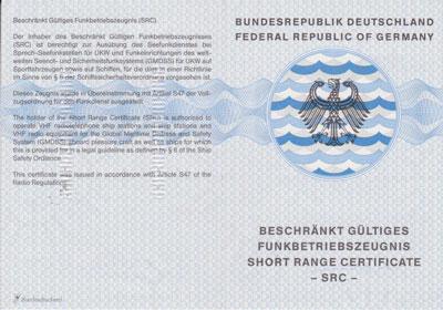 Short Range Certificate - SRC - Beschränkt Gültiges Funkbetriebszeugnis