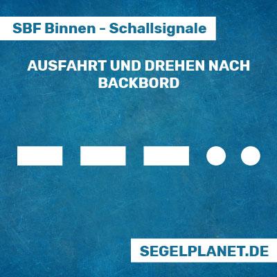 Schallsignale SBF Binnen - Ein-/Ausfahrt an Hafen- oder Nebenwasserstraßen nach Backbord