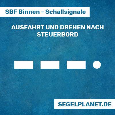 Schallsignale SBF Binnen - Ein-/Ausfahrt an Hafen- oder Nebenwasserstraßen nach Steuerbord